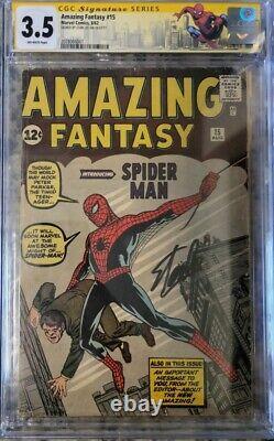 AMAZING FANTASY #15 CGC 3.5 AF15 1ST SPIDER-MAN Signed By Stan Lee