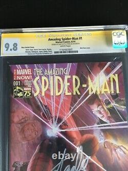 AMAZING SPIDER-MAN #1 CGC 9.8 SS Stan Lee Dan Slott. ALEX ROSS Variant White Pg