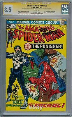 AMAZING SPIDER-MAN #129 CGC 8.5 SIGNATURE SERIES SIGNED x3 STAN LEE 1ST PUNISHER