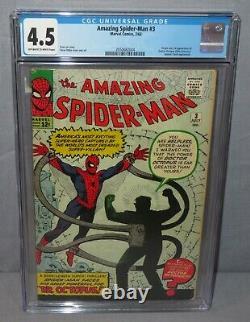AMAZING SPIDER-MAN #3 (Doctor Octopus 1st app) CGC 4.5 VG+ Marvel Comics 1963