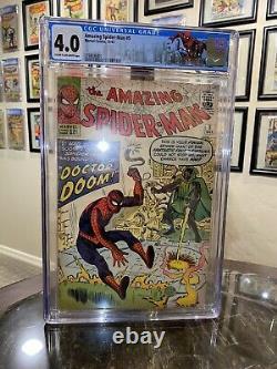 AMAZING SPIDER-MAN # 5 CGC 4.0 Marvel 1963 1st DR DOOM Outside Fantastic Four