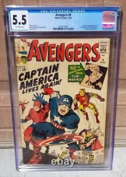AVENGERS #4 CGC 5.5 1st Silver Age Appearance of Captain America 1 1964 SA