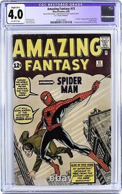 Amazing Fantasy 15 CGC 4.0 Restored FIRST SPIDERMAN MARVEL MEGA GRAIL KEY COMIC