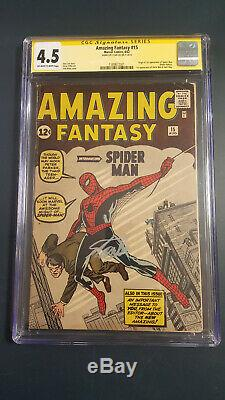Amazing Fantasy 15 Cgc 4.5 Ss Stan Lee 1st App Of Spiderman No Chipping 8/62
