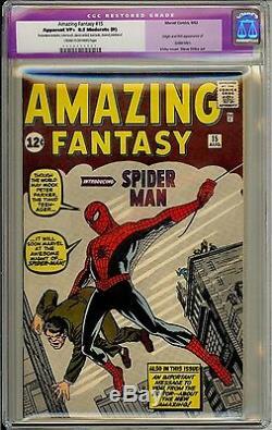 Amazing Fantasy #15 Cgc 8.5 Vf+ Restored Stan Lee Key Origin Book Rare