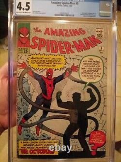 Amazing Spider-Man #3 CGC 4.5 1st Doctor Octopus + Origin! Human Torch Appears