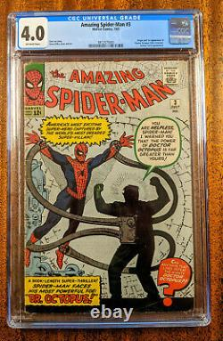 Amazing Spider-Man #3 Comic Book (CGC 4.0 Off-White Pages) Silver Age Key Issue