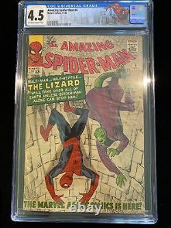 Amazing Spider-Man #6 CGC 4.5 Marvel 11/63 Origin And 1st App. Lizard Stan Lee