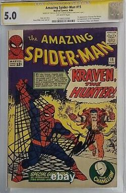 Amazing Spider-man #15 Cgc 5.0 Ss Signed Stan Lee 1st Kraven The Hunter