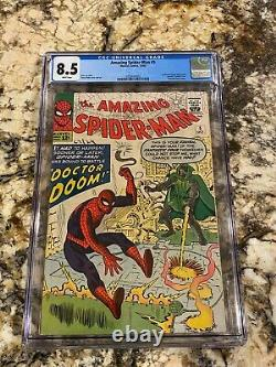 Amazing Spider-man #5 Cgc 8.5 Rare White Pages! Hi End 1st Dr Doom Crossover Hot