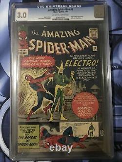 Amazing Spider-man #9 Cgc 3.0 First Electro App Stan Lee Steve Ditko Art 1964
