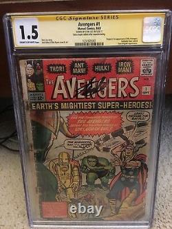 Avengers #1 CGC 1.5 1962 SS STAN LEE Signature! Thor! Iron Man G12 121 H10 cm