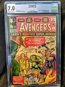 Avengers #1 CGC 7.0 OWithW Pages Stan Lee Jack Kirby 1st 9/63 1963 Marvel