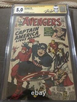 Avengers #4 (1964) CGC 5.0 SS Stan Lee Signed 1st Silver Age Cap America