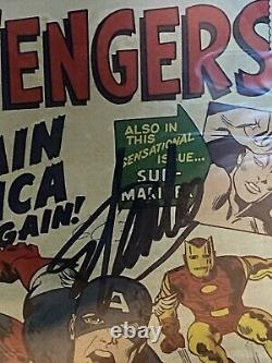 Avengers #4 (1964) CGC 5.5 SS Stan Lee Signed 1st Silver Age Cap America