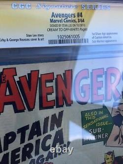Avengers #4 CGC 4.0 SS Stan Lee Signed Comics 1st Silver Age Captain America