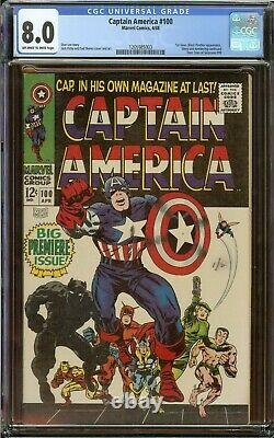 Captain America #100 CGC 8.0 OWithW Pages 1st Issue Stan Lee Story 1968