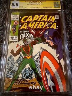 Captain America #117 Cgc Ss 5.5 Signed By Stan Lee & Joe Sinnott Key 1st Falcon