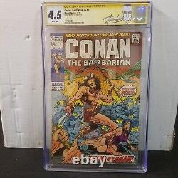 Conan The Barbarian #1 Cgc 4.5 Ss Signed Stan Lee White Pages
