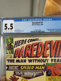 Daredevil 1 CGC 5.5 OWithWHITE Pages! Classic Marvel Key1st Issue SpidermanFF 1964