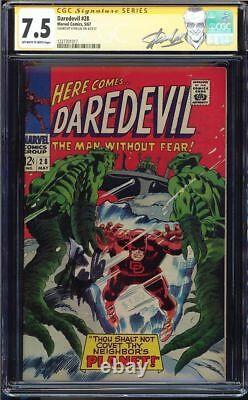 Daredevil #28 Cgc 7.5 Oww Ss Stan Lee Signed Cgc #1227701017