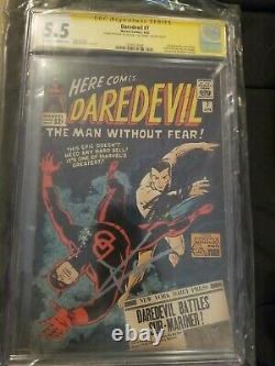 Daredevil 7 CGC 5.5 SS 2x Signed Stan Lee & Charlie Cox MCU1st Red Costume