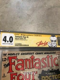 FANTASTIC FOUR #5 1ST Stan Lee DOCTOR DOOM SS Signed By Stan Lee Red Label