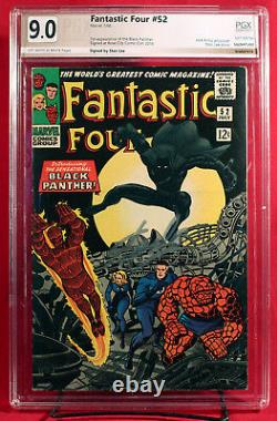 FANTASTIC FOUR #52 PGX 9.0 VF/NM FIRST BLACK PANTHER signed STAN LEE! +CGC