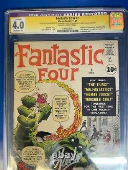 Fantastic Four #1 CGC 4.0 Restored Silver Age First 1961 Signed by Stan Lee