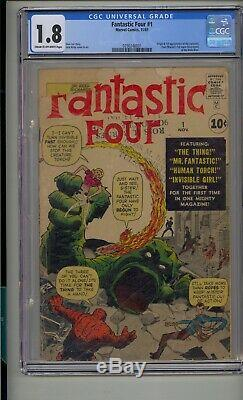 Fantastic Four #1 Cgc 1.8 Stan Lee Jack Kirby Silver Age