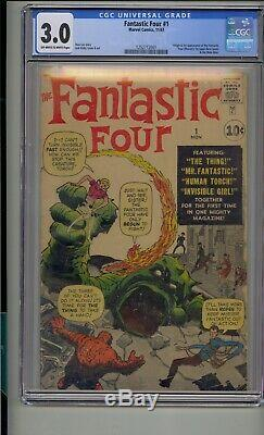 Fantastic Four #1 Cgc 3.0 Stan Lee Jack Kirby Silver Age