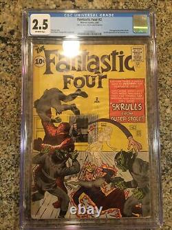 Fantastic Four #2! (1962) CGC 2.5 First Appearance Of Skrulls! Off White! Wow