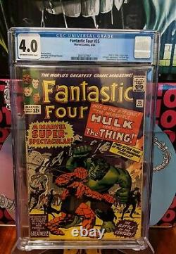Fantastic Four 25 CGC 4.0 FIRST Thing VS Hulk solo fight CLASSIC Battle RARE