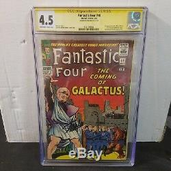Fantastic Four #48 Cgc 4.5 Ss Signed Stan Lee 1st Silver Surfer