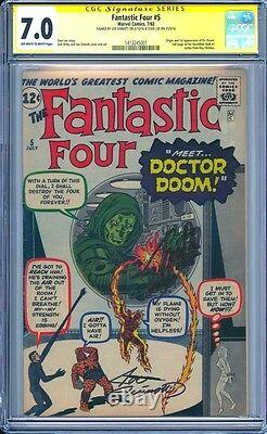Fantastic Four 5 Cgc 7.0 2x Ss Stan Lee Joe Sinnott 1st Appearance Dr Doom Mcu