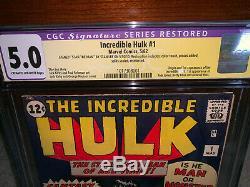 Hulk #1 CGC 5.0 (R) Marvel 1962 Stan Lee Signature! Key Silver! Avengers! K10 cm