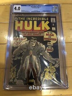 INCREDIBLE HULK #1 (1962) CGC GRADE 4.0 ORIGIN AND 1ST APPEARANCE OF HULK key