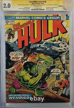 Incredible Hulk #180 Cgc 2.0 Ss Signed Stan Lee 1st Wolverine Looks 7.0