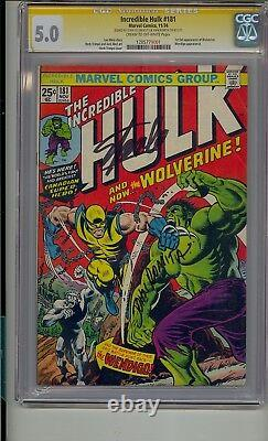 Incredible Hulk #181 Cgc 5.0 Ss Signed Stan Lee & John Romita 1st Wolverine