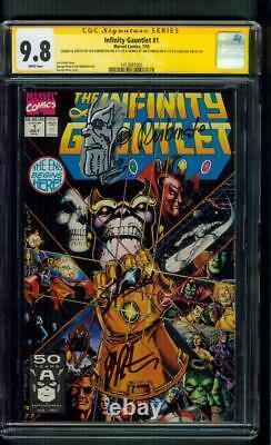 Infinity Gauntlet 1 CGC 9.8 3XSS Stan Lee Starlin Thanos sketch Avengers 1991