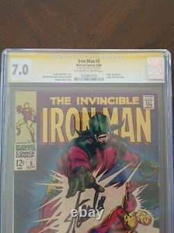 Iron Man #5 (May 1968, Marvel) Signed By Stan Lee. CGC 7.0
