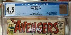 Marvel AVENGERS #4 CGC 4.5 Off White (OW) Pages First Silver Age Captain America
