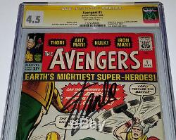 STAN LEE Signed THE AVENGERS Vol 1 Key #1 Sept, 1963 CGC 4.5 VG+ SS LARGE AUTO