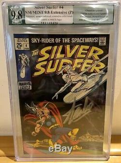Silver Surfer #4 Signed By Stan Lee Silver Thor Crossover Pgx 9.8 Nm Wow