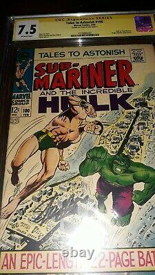 Stan Lee Signed Tales to Astonish #100 CGC SS 7.5 (1968) Hulk vs Sub-Mariner