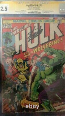 The Incredible Hulk #181 CGC 2.5 SS Stan Lee (Nov 1974, Marvel)