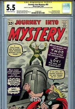 Thor Journey into Mystery 85 CGC 5.5 SS X2 Stan Lee 1st Loki Heimdall Odin cameo