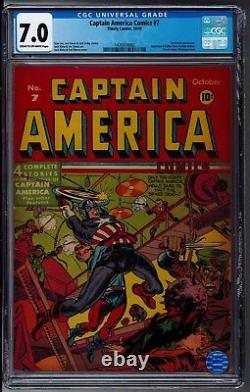 Timely Captain America Comics #7 CGC 7.0 Cream to Off-White Pages Stan Lee Sig