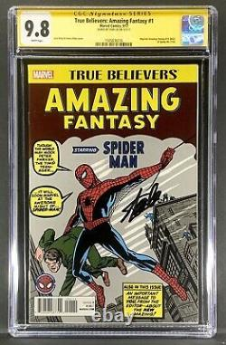 True Believers Amazing Fantasy #15 Reprint CGC 9.8 Signed by Stan Lee -Spiderman