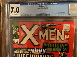 X-Men 12 CGC 7.0 FN/VF OffWhite pagesbProfessor X Origin 1st Juggernaut